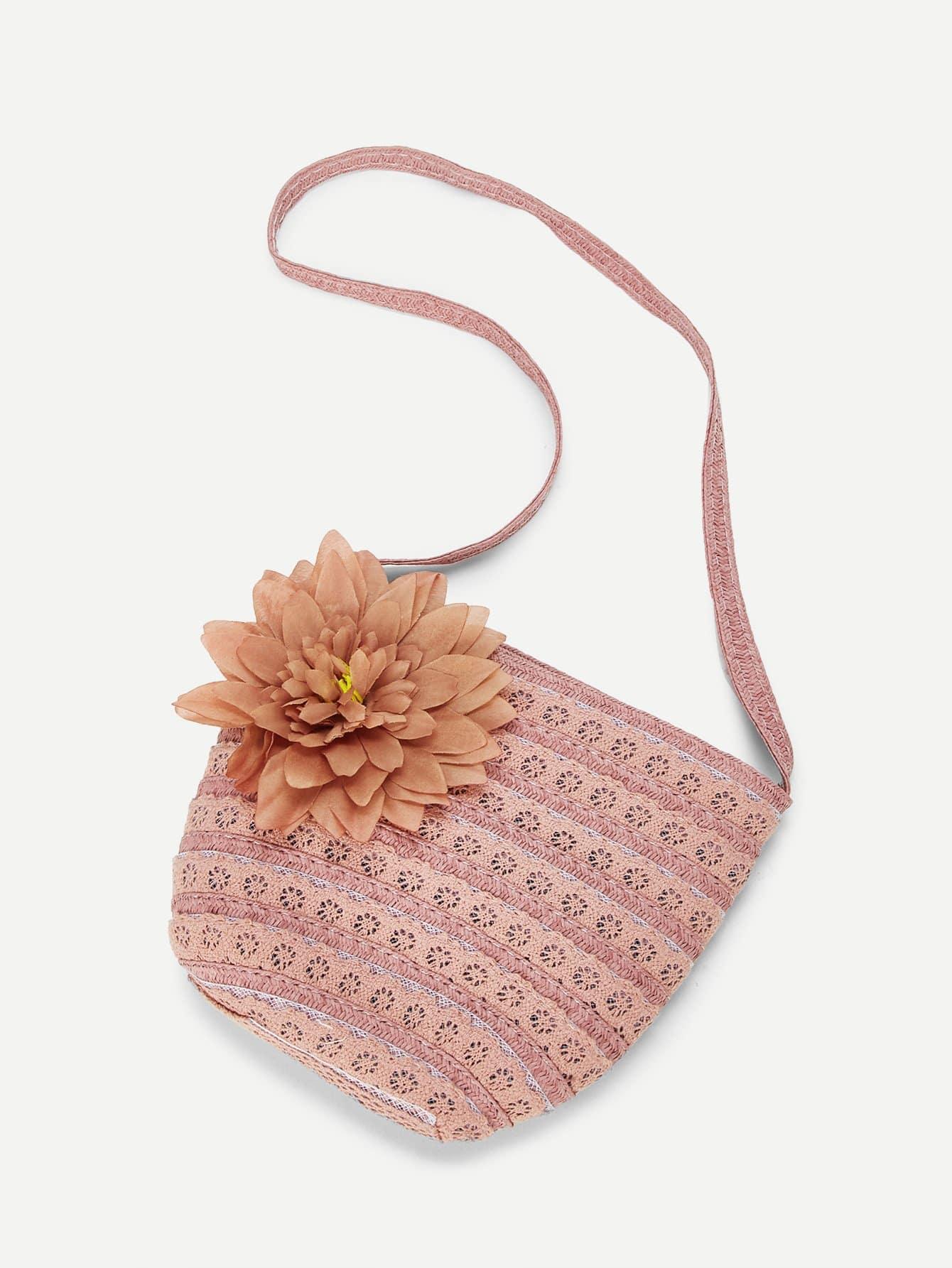 Girls Flower Decorated Crochet Bag