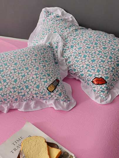 Flower Print Ruffle Hem Sheet Set