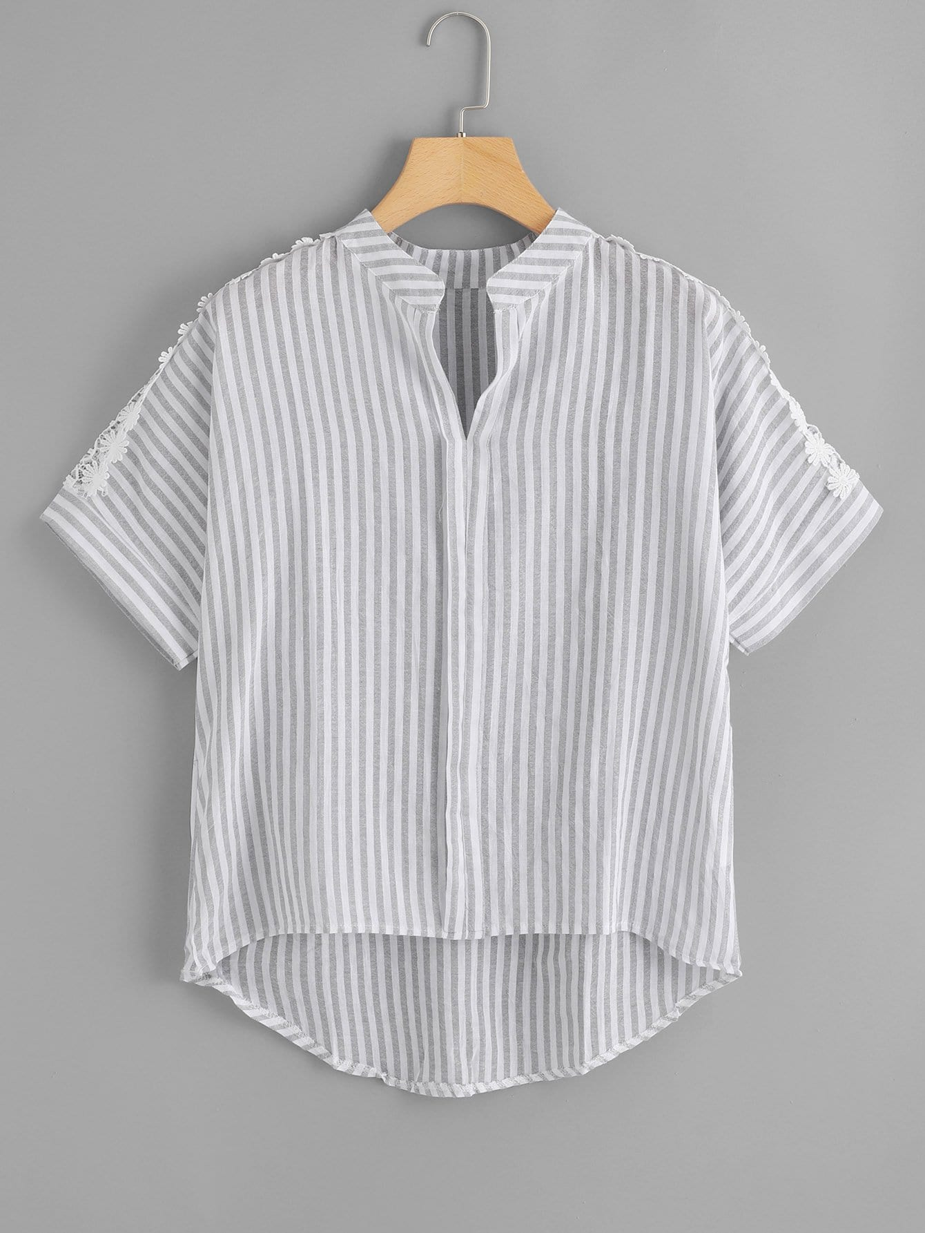 Lace Panel Striped Blouse
