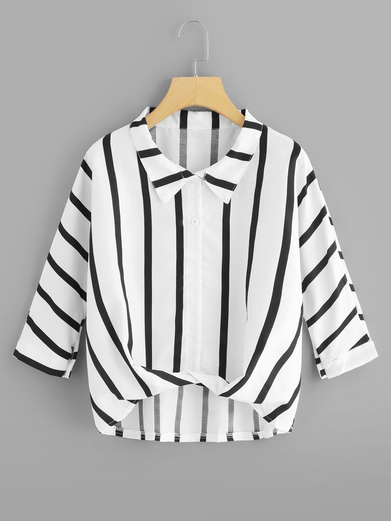 Bluse mit abfallemdem Saum und Streifen