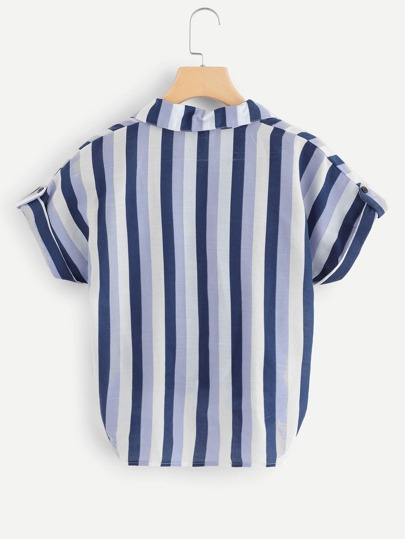 Romwe / Tie Front Striped Blouse