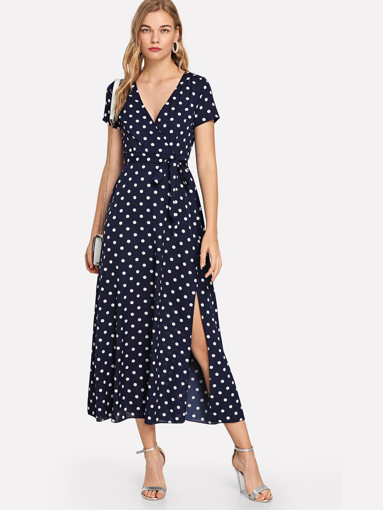Tie Side Split Hem Spot Dress