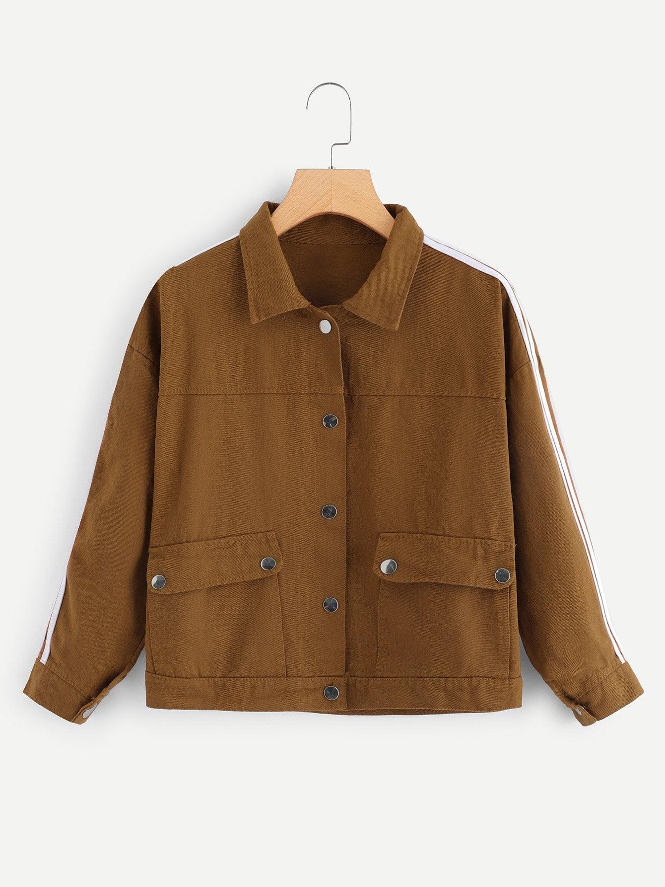 Купить Повседневный Полосатый с карманами Коричневый Джинсовые куртки, null, SheIn