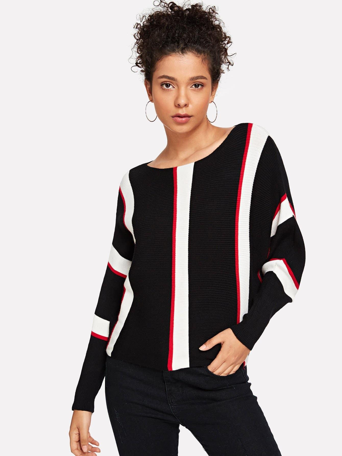 Striped Batwing Sleeve Sweater