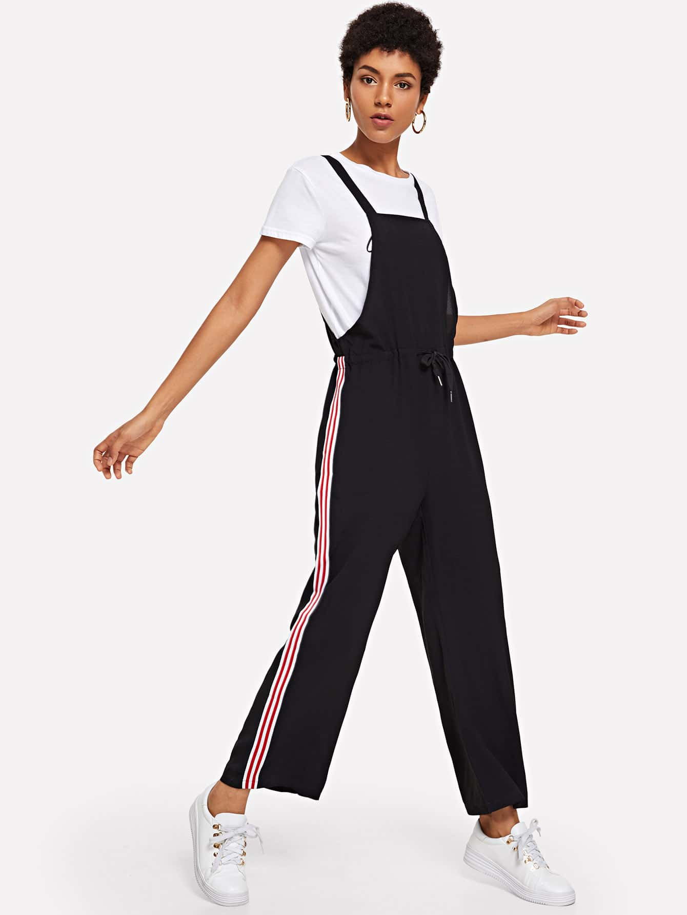 Drawstring Waist Striped Side Pinafore Pants