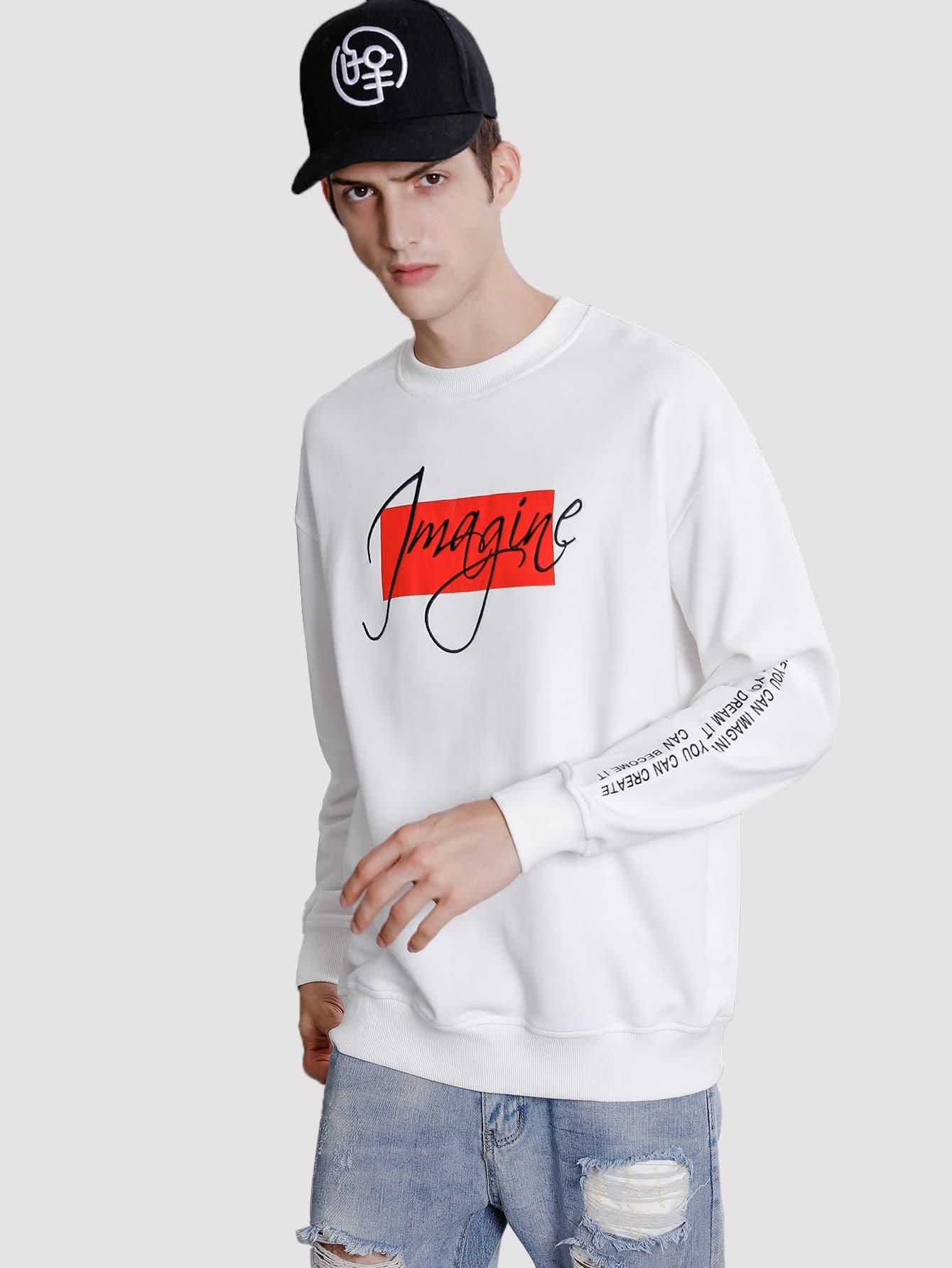 Men Abstract Letter Print Sweatshirt