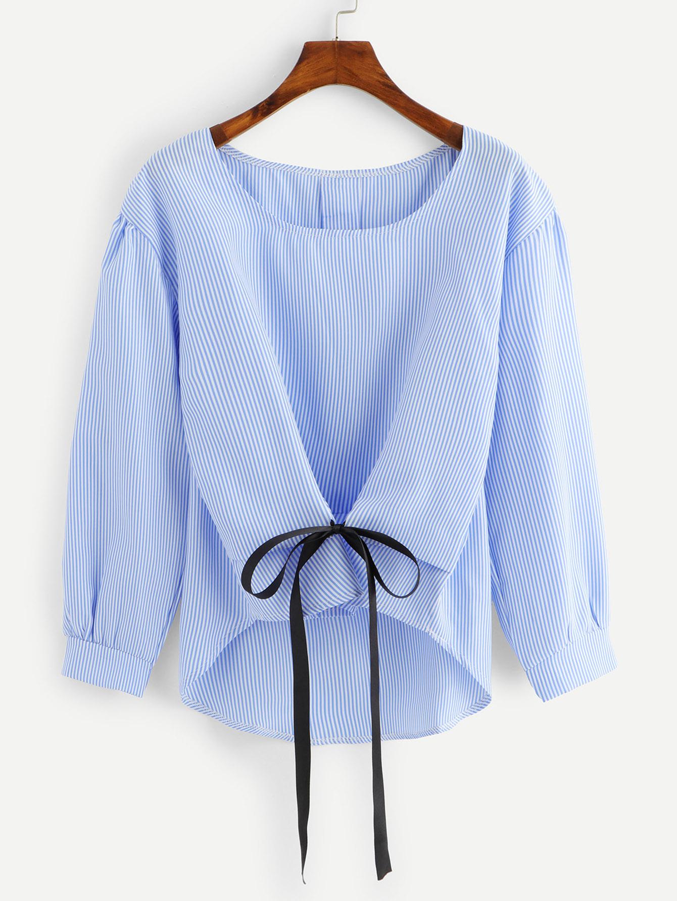 Купить Полосатая рубашка и с украшением банта перед одежды, null, SheIn