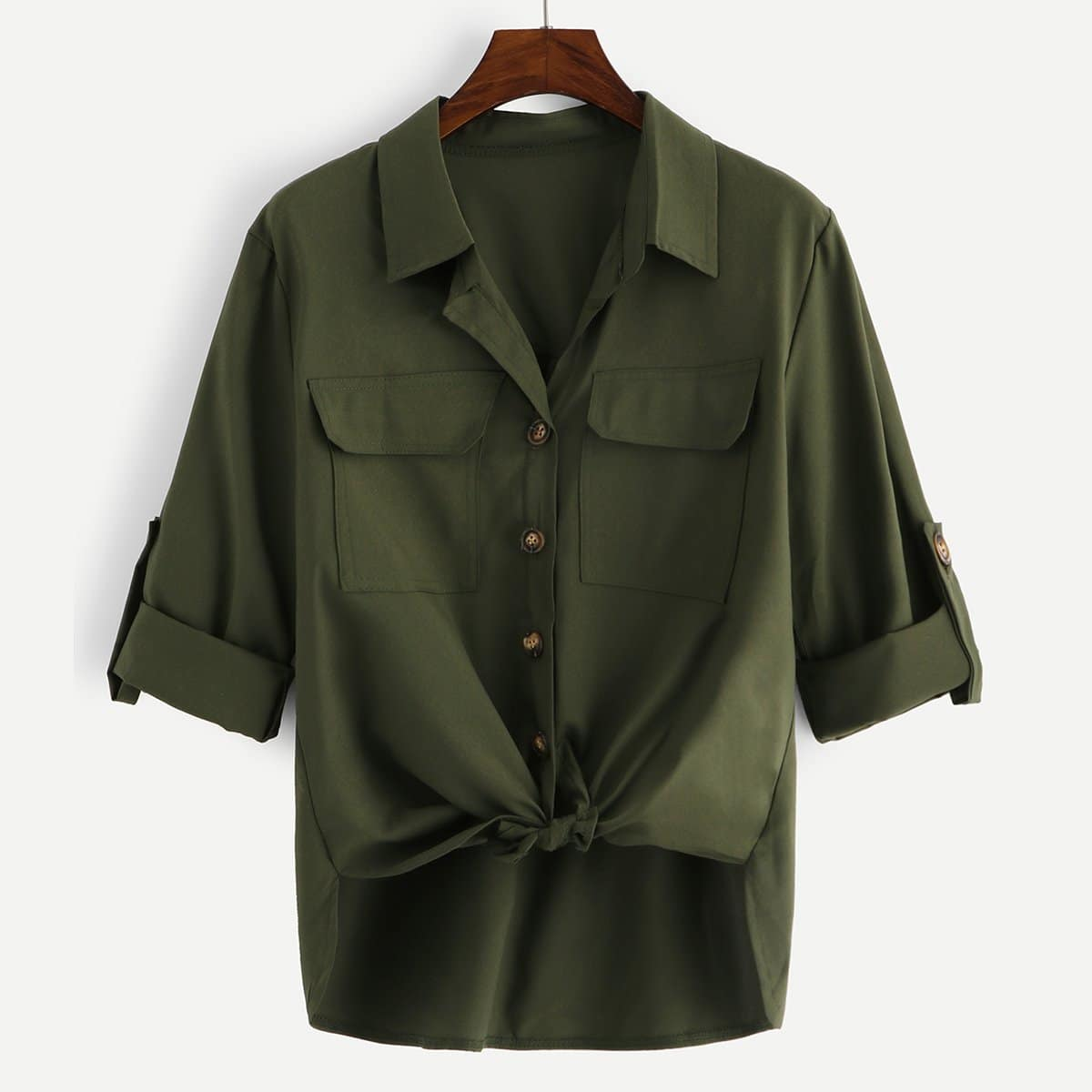 SHEIN / Camisa con bolsillos anudada