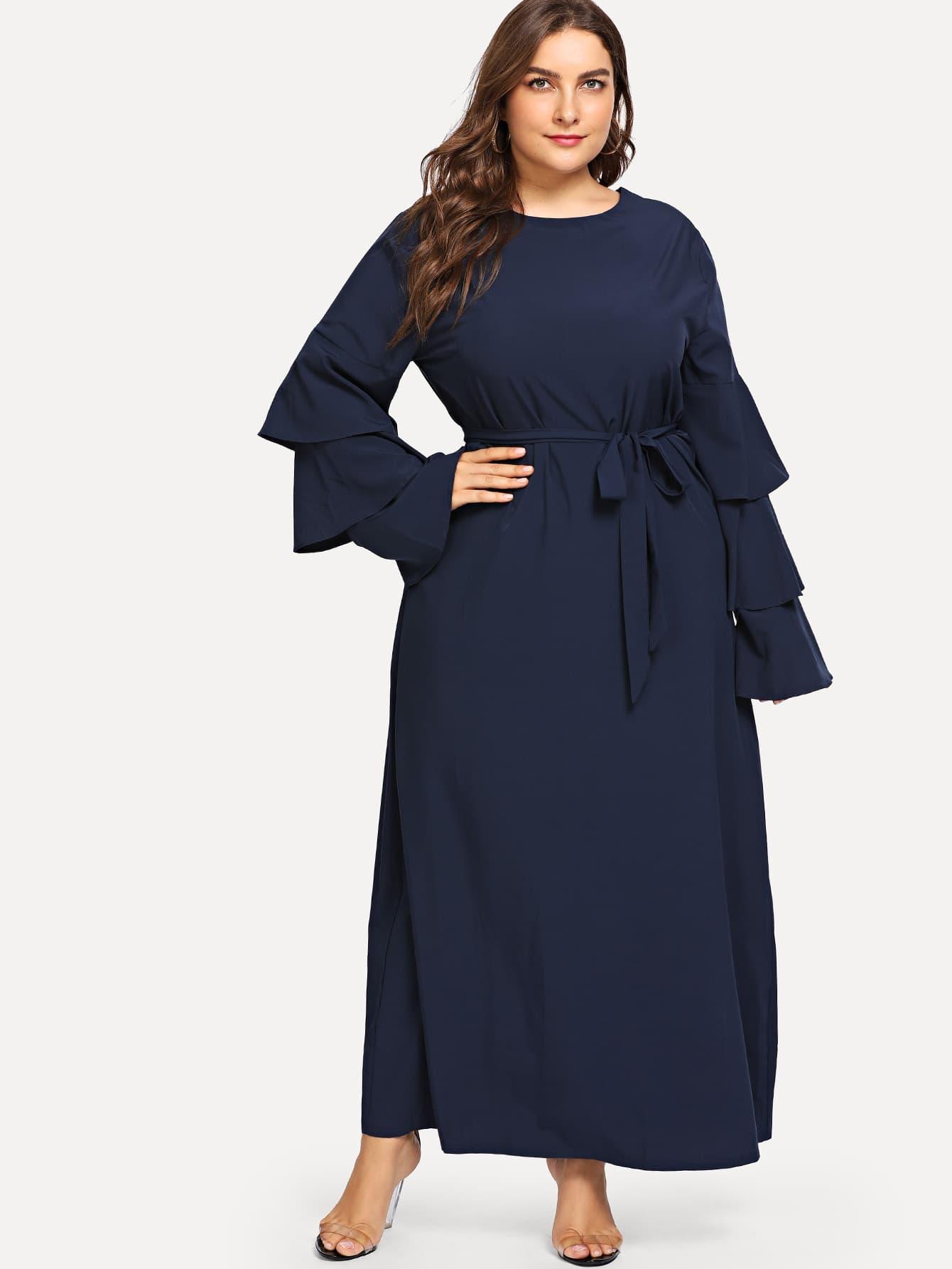 Купить Большое платье и с поясом и с накрахмаленными рукавами, Franziska, SheIn
