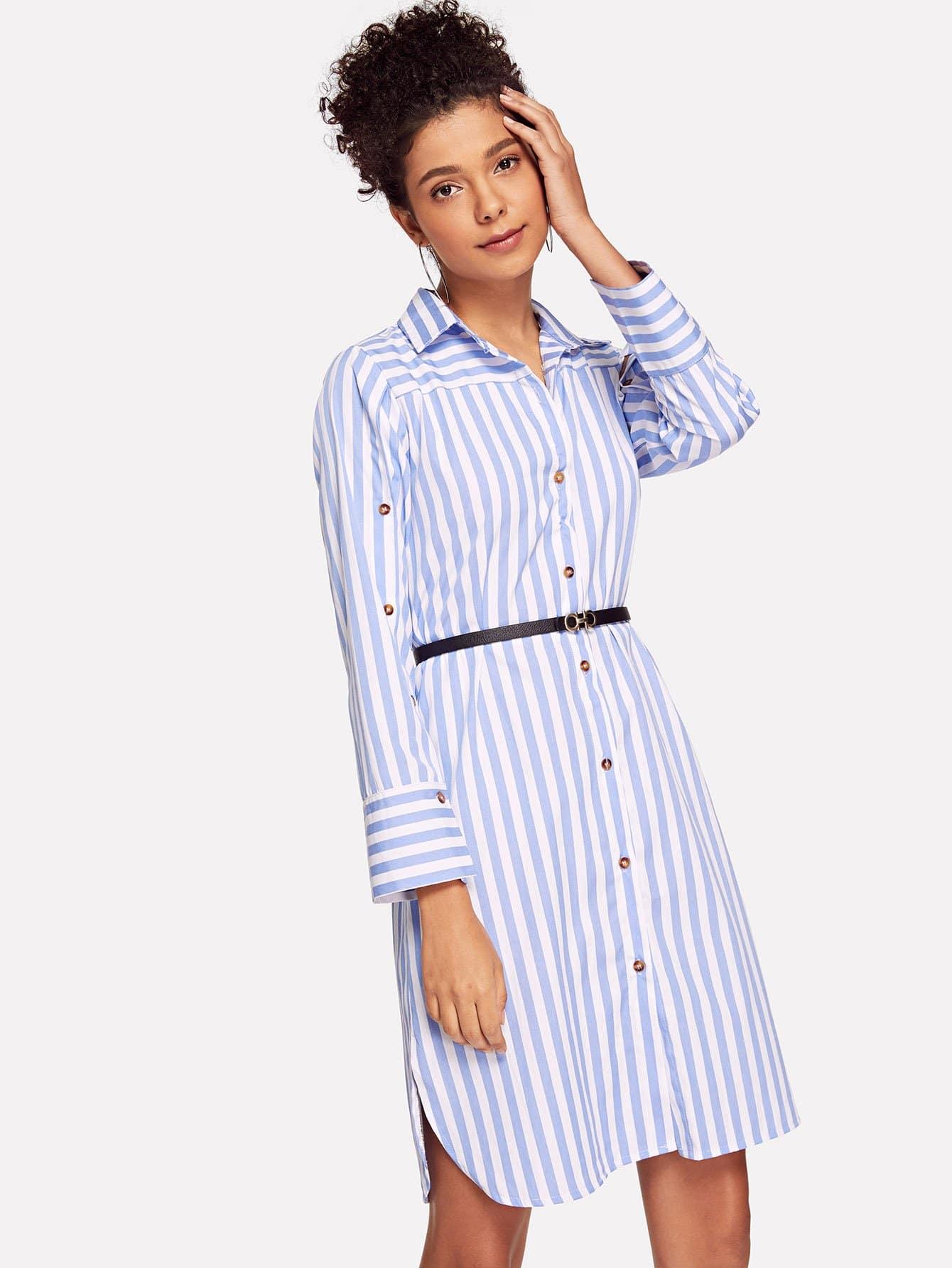 Купить Полосатое платье рубашки и с поясом, Starl Lane, SheIn