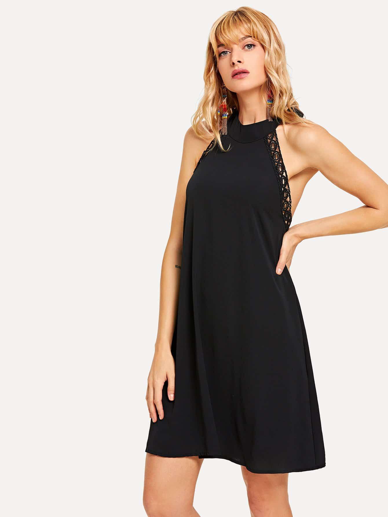 Купить Платье с открытой спиной и с кружевными оборками, Masha, SheIn