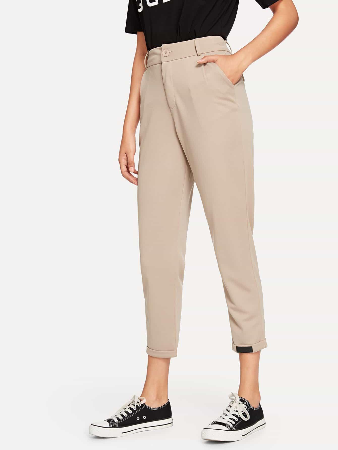 Купить Простые брюки и рольный подол, Starl Lane, SheIn