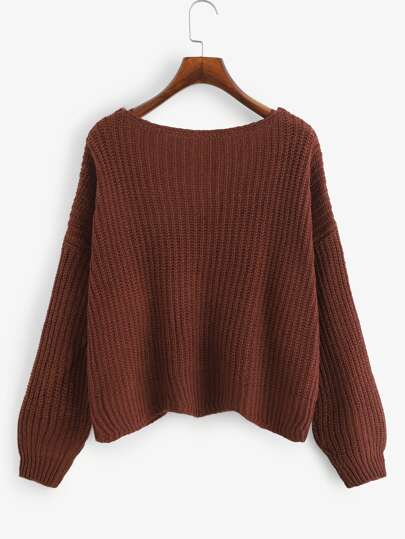Romwe / Single Breasted Solid Sweater