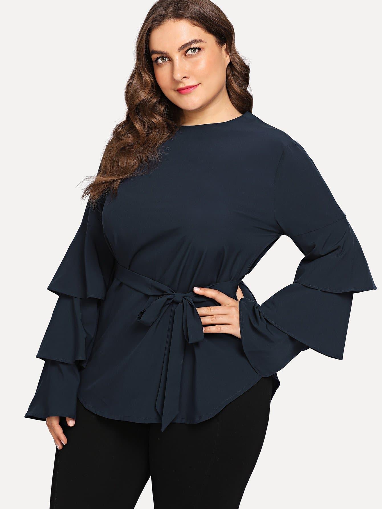 Большая футболка и с поясом и рукава с розеткой SheIn