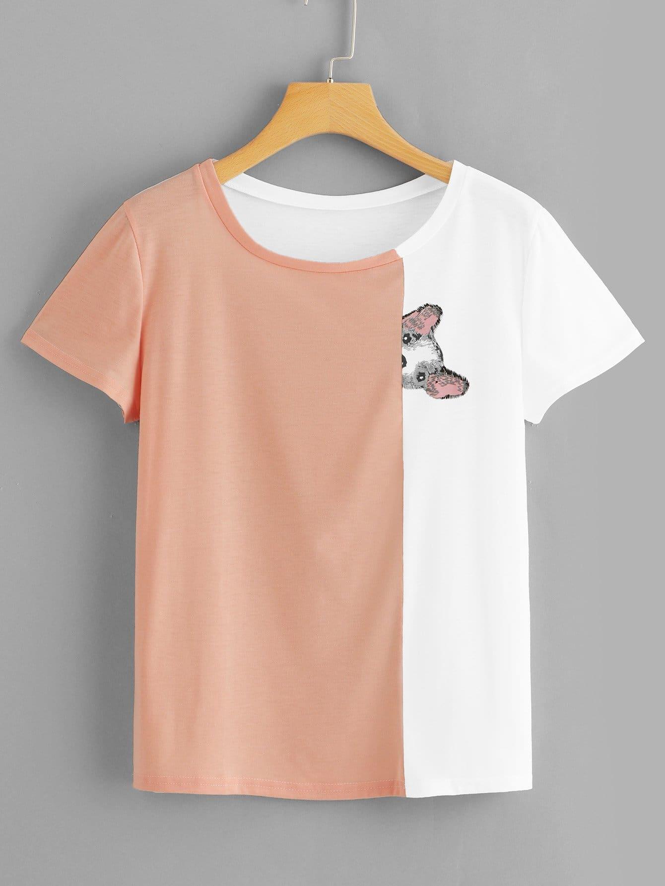 Купить Цветная кусковая футболка и с рисунком собаки, null, SheIn