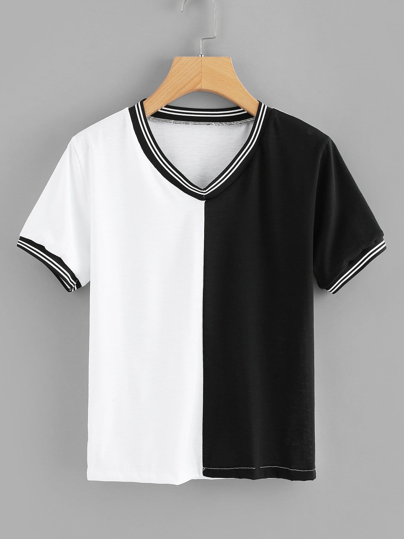 Купить Цветная кусковая полосатая футболка, null, SheIn