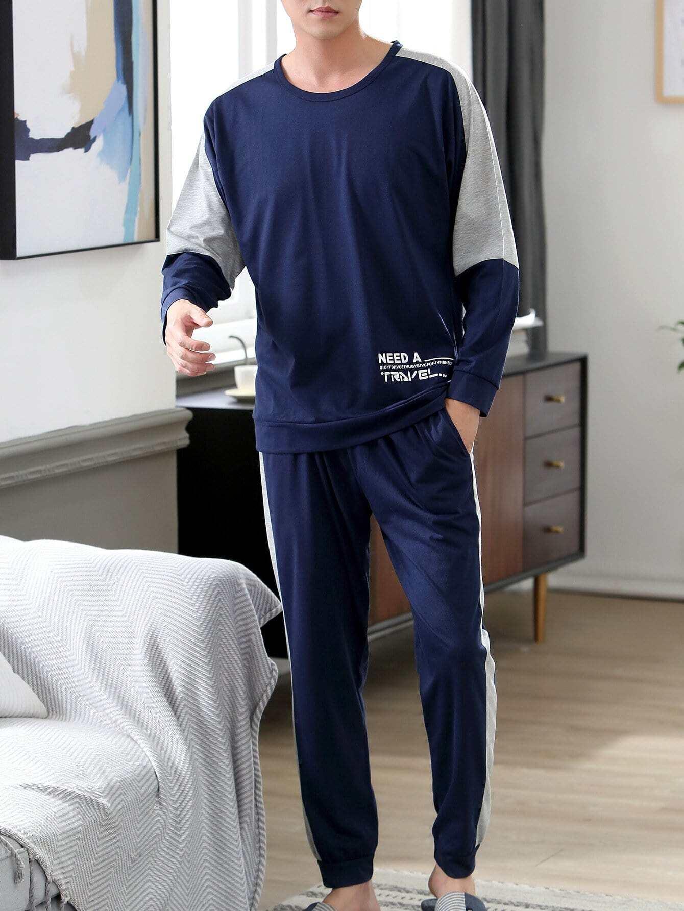 Купить Комплект пижамы с рисунками буквы для мужчины, null, SheIn