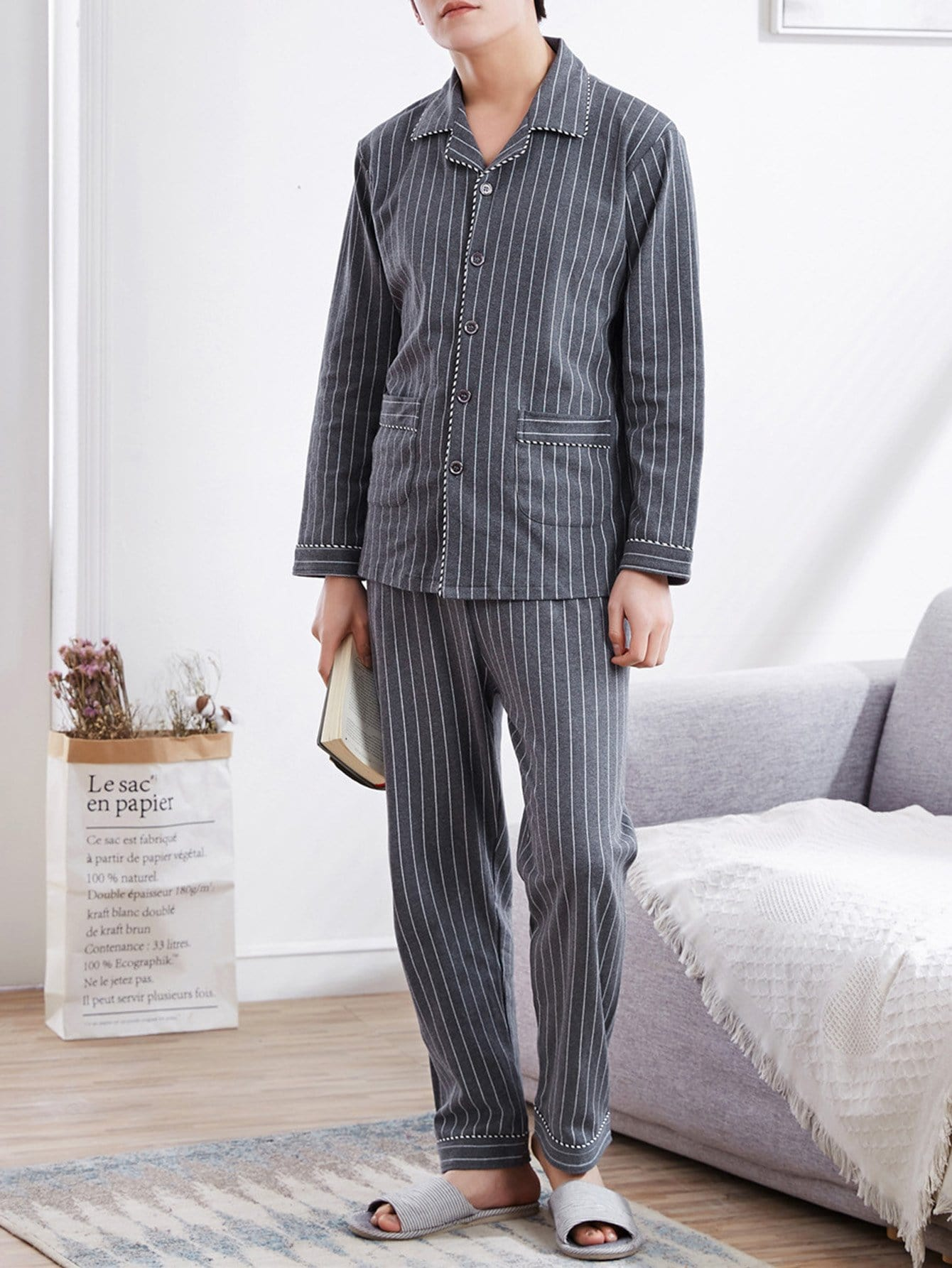 Купить Комплект полосатой пижамы и с украшением пуговицы для мужчины, null, SheIn