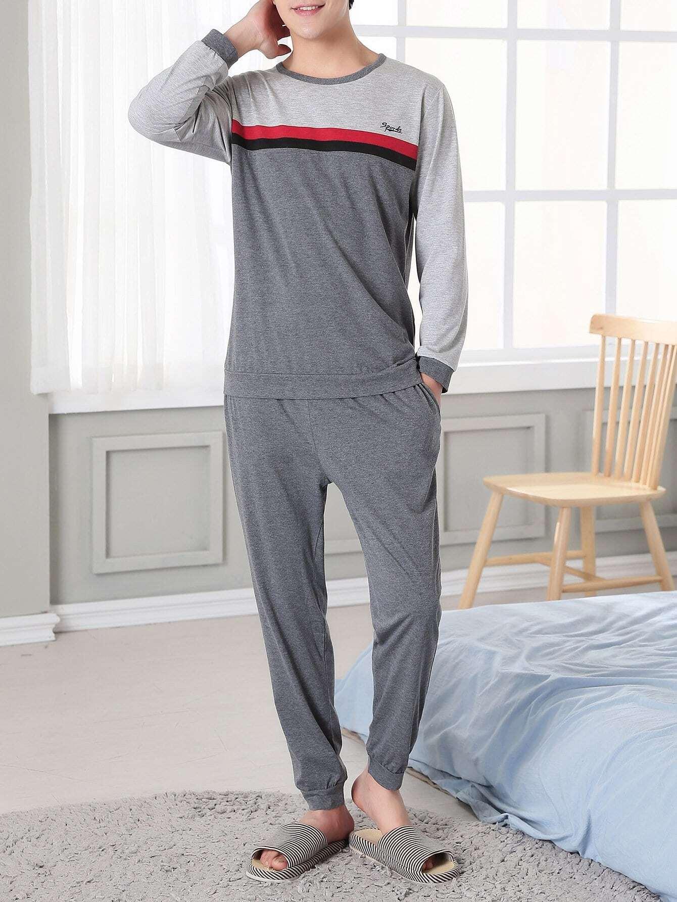 Men Contrast Stripe Colorblock Pajama Set