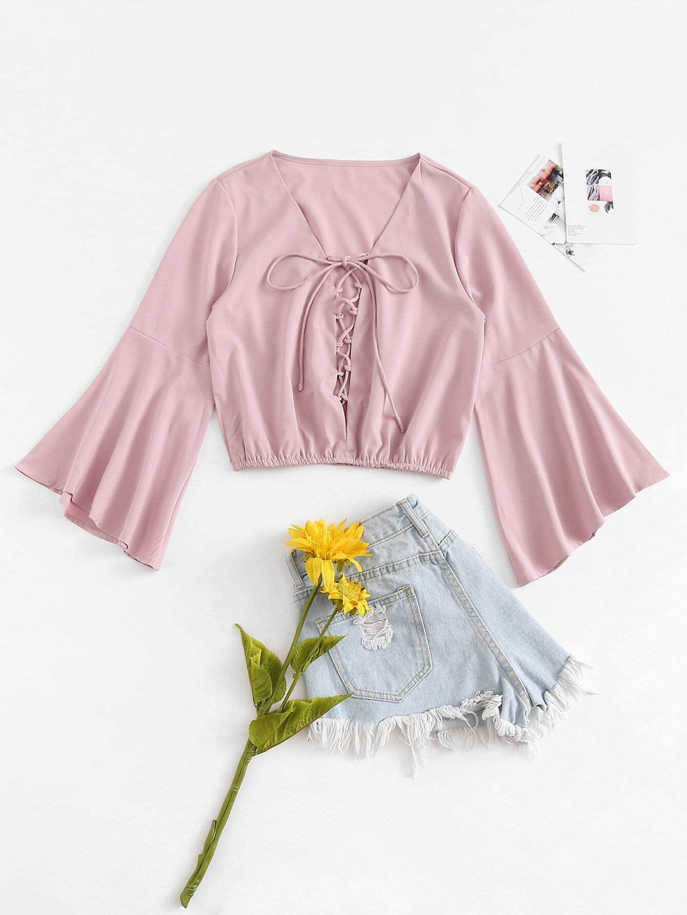 Lace Up Flounce Sleeve Solid Top
