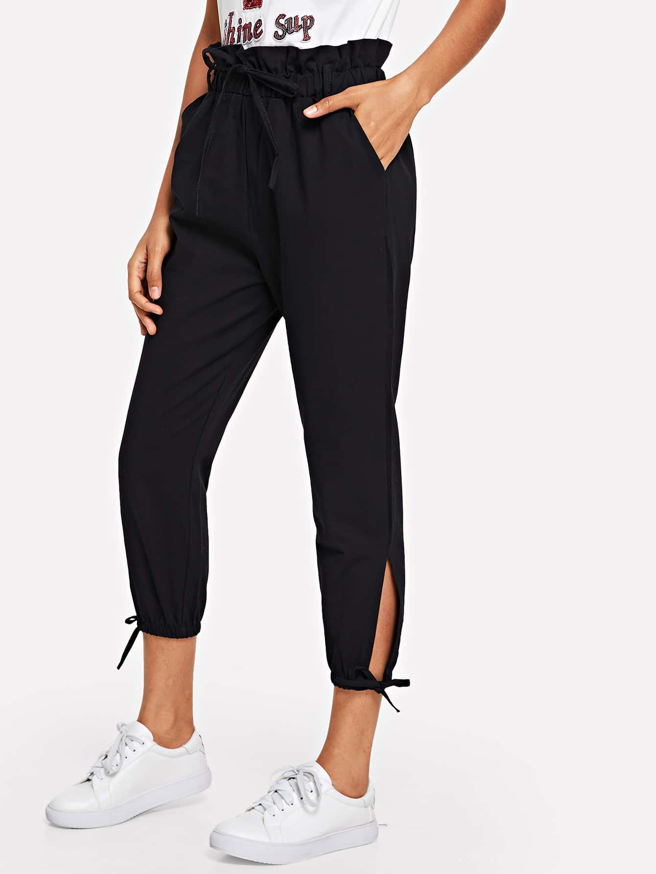 Frill Bow Detail Cuff Pant