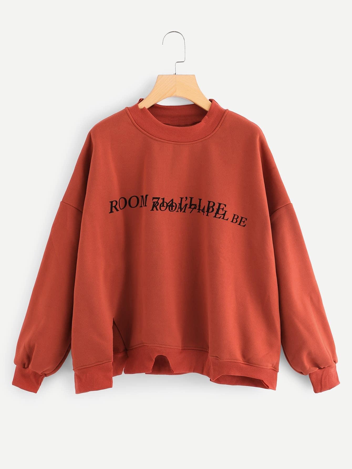 Plus Dropped Shoulder Letter Print Sweatshirt