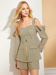 Button & Pocket Front Striped Blazer