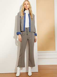Button & Pocket Front Plaid Blazer