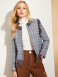 Fringe Trim Tweed Blazer