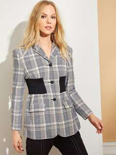 Contrast Shirred Waist Plaid Blazer