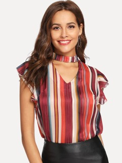 Choker Neck Striped Ruffle Top