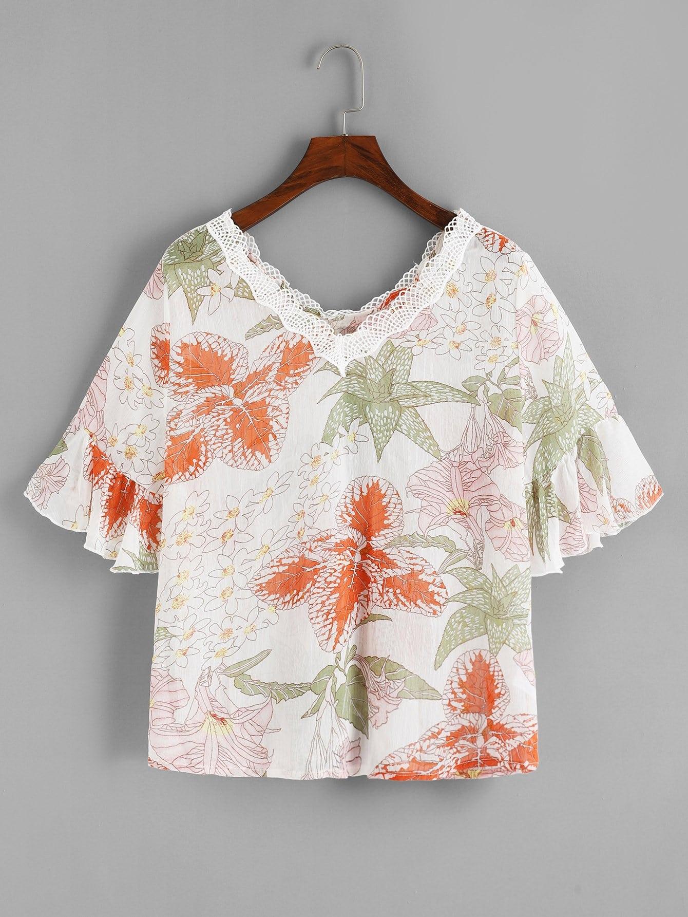 Блузка с кружевами цветы и широкими рукавами, null, SheIn  - купить со скидкой