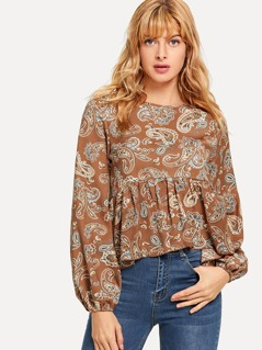 Paisley Print Bishop Sleeve Smock Top
