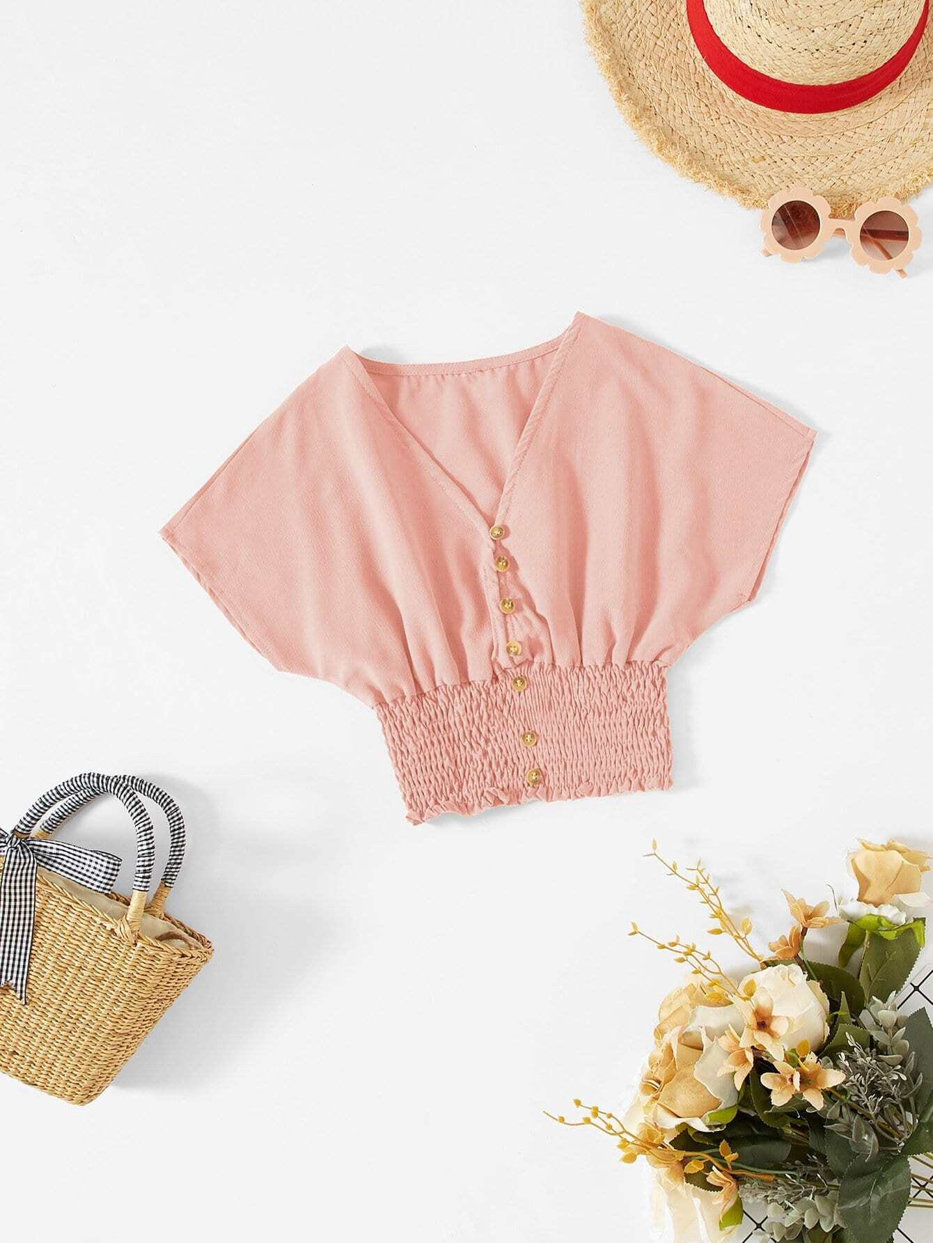 Девушки Batwing Sleeve Shirred Hem Button Up Blouse