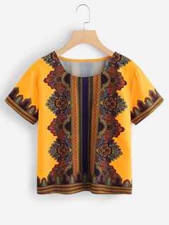 Flower Print Tribal Top