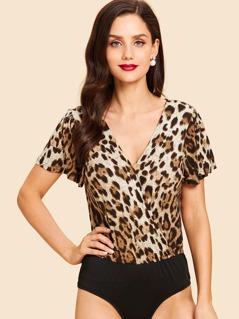 Keyhole Back Leopard Print Bodysuit