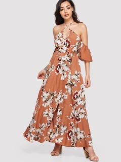 Crisscross Neck Cold Shoulder Floral Dress