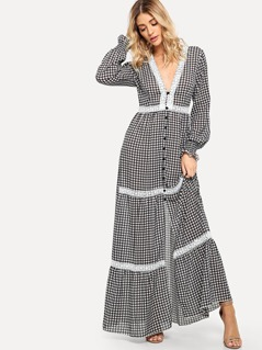 Lace Applique Ruffle Cuff Gingham Button Dress