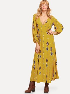 Surplice Neck Geo Print Dress