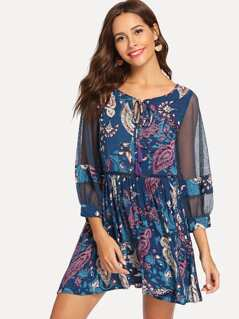 Sheer Bishop Sleeve Paisley Dress