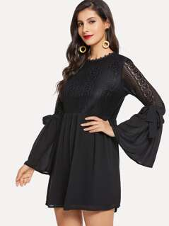 Guipure Lace Bodice Tie Flounce Sleeve Dress