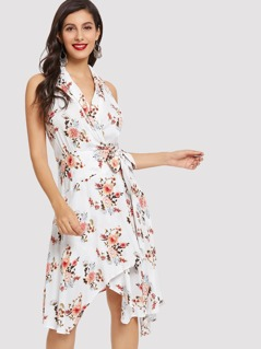 Knot Notched Neck Floral Shell Dress