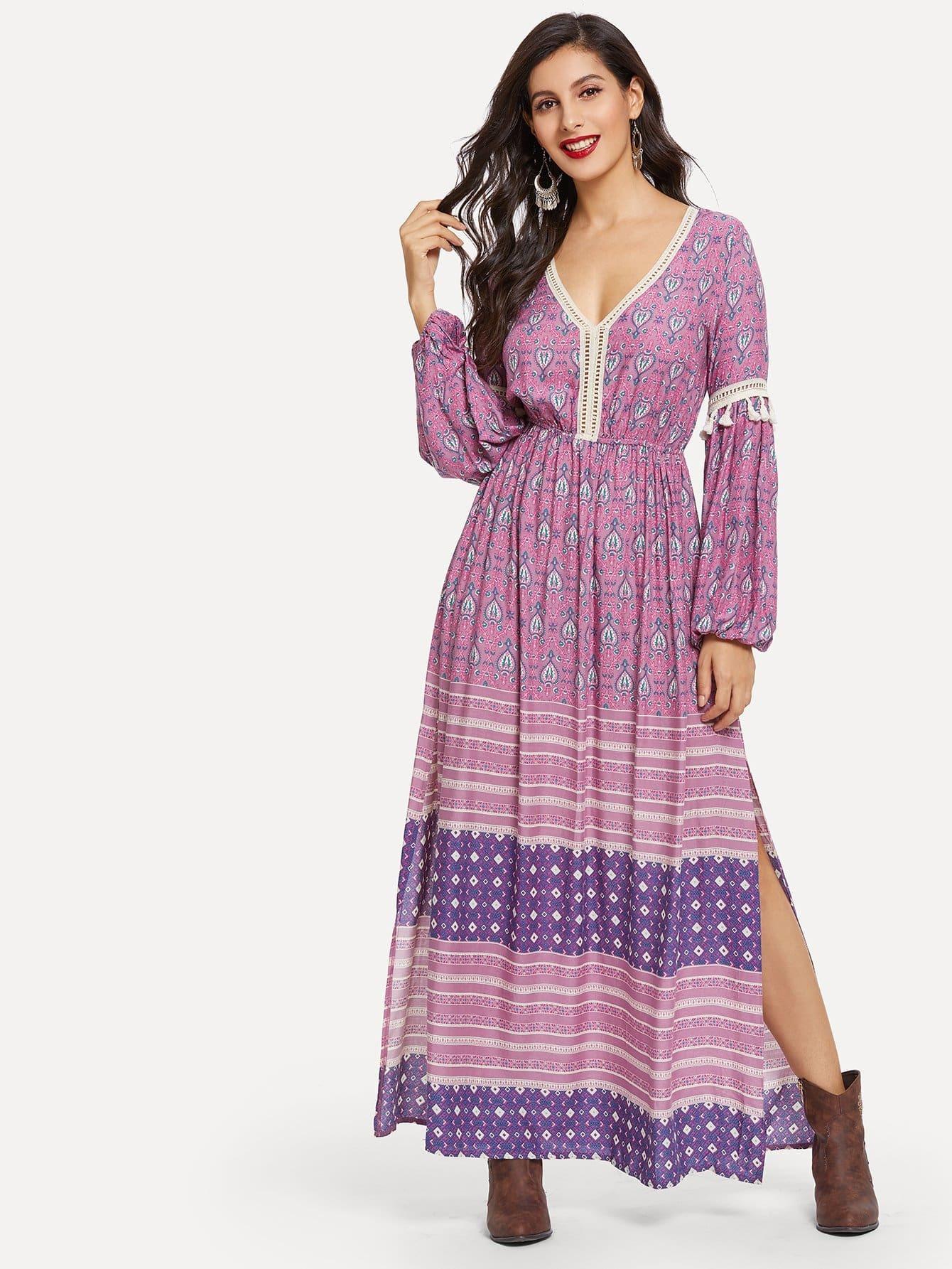 Купить Tassel Detail Епископская рукава Slit Hem Tribal Dress, Jeane, SheIn