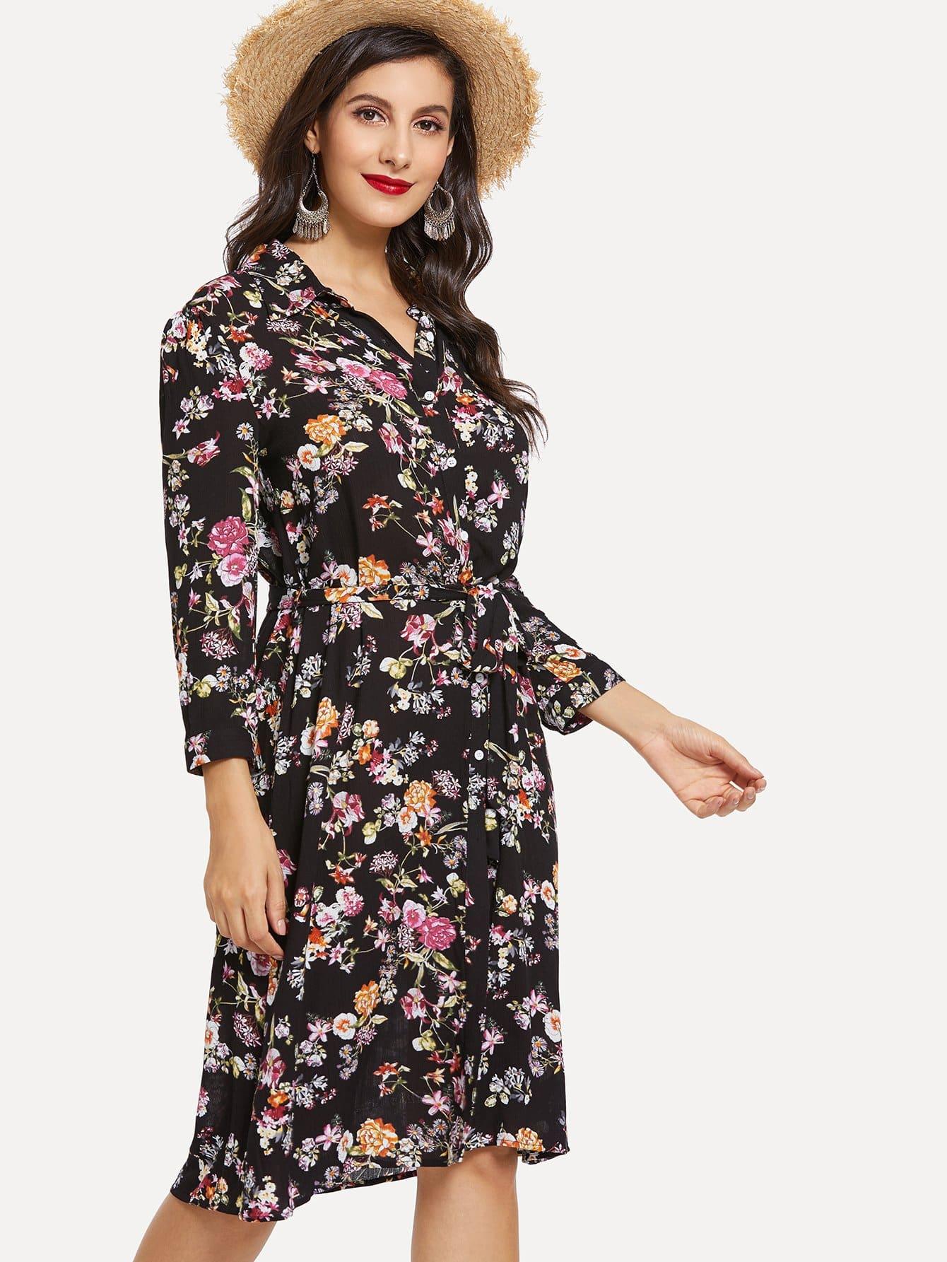 Allover Flower Print Tie Neck Dress