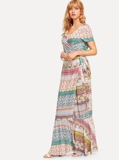 Wrap Knot Print Dress