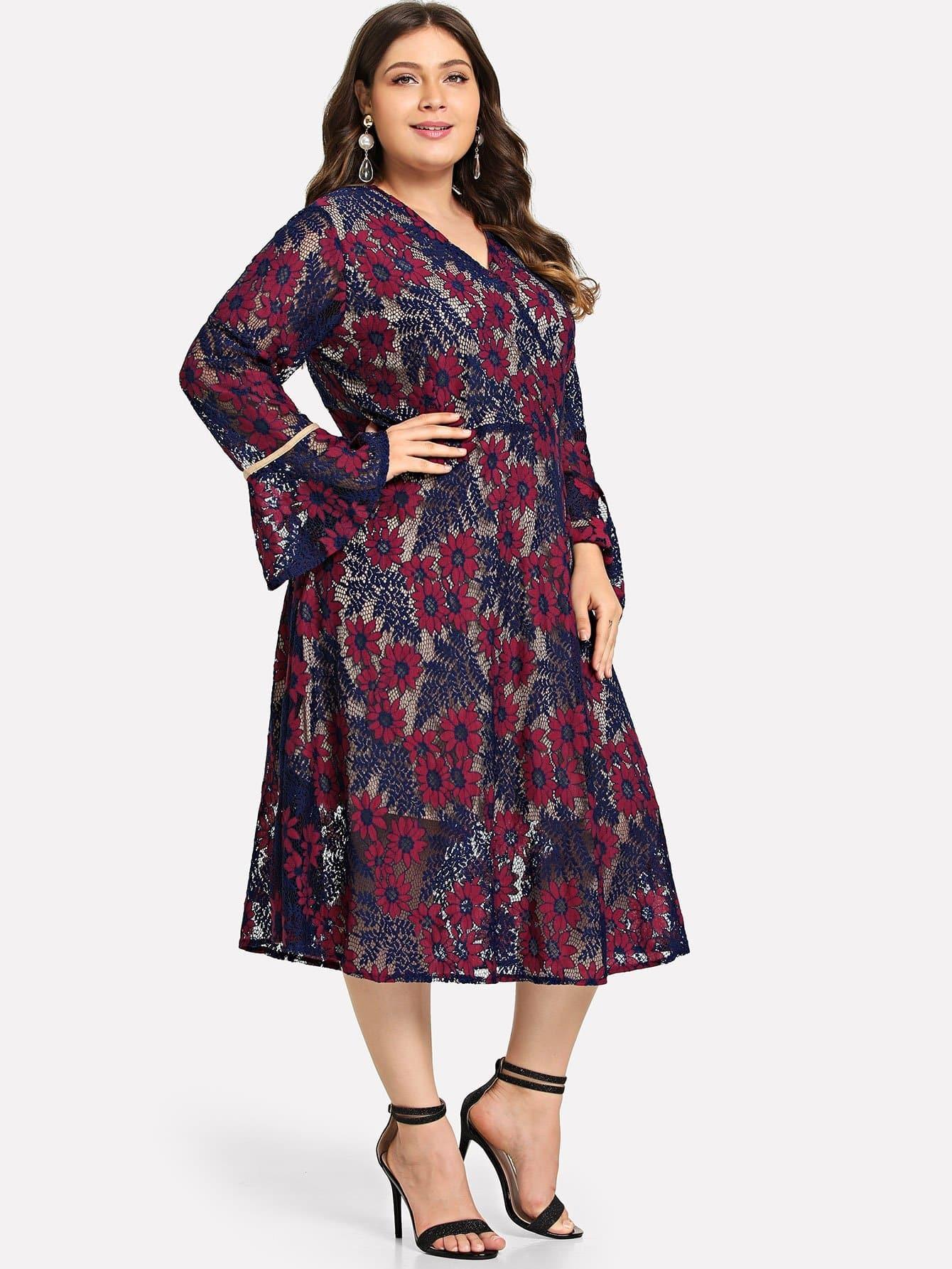 Купить Плюс Wrap Appliques Bell Sleeve Dress, null, SheIn