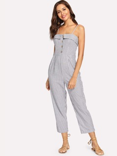 Button Up Striped Cami Jumpsuit