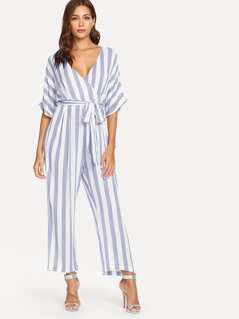 Vertical Stripe Surplice Wrap Batwing Jumpsuit