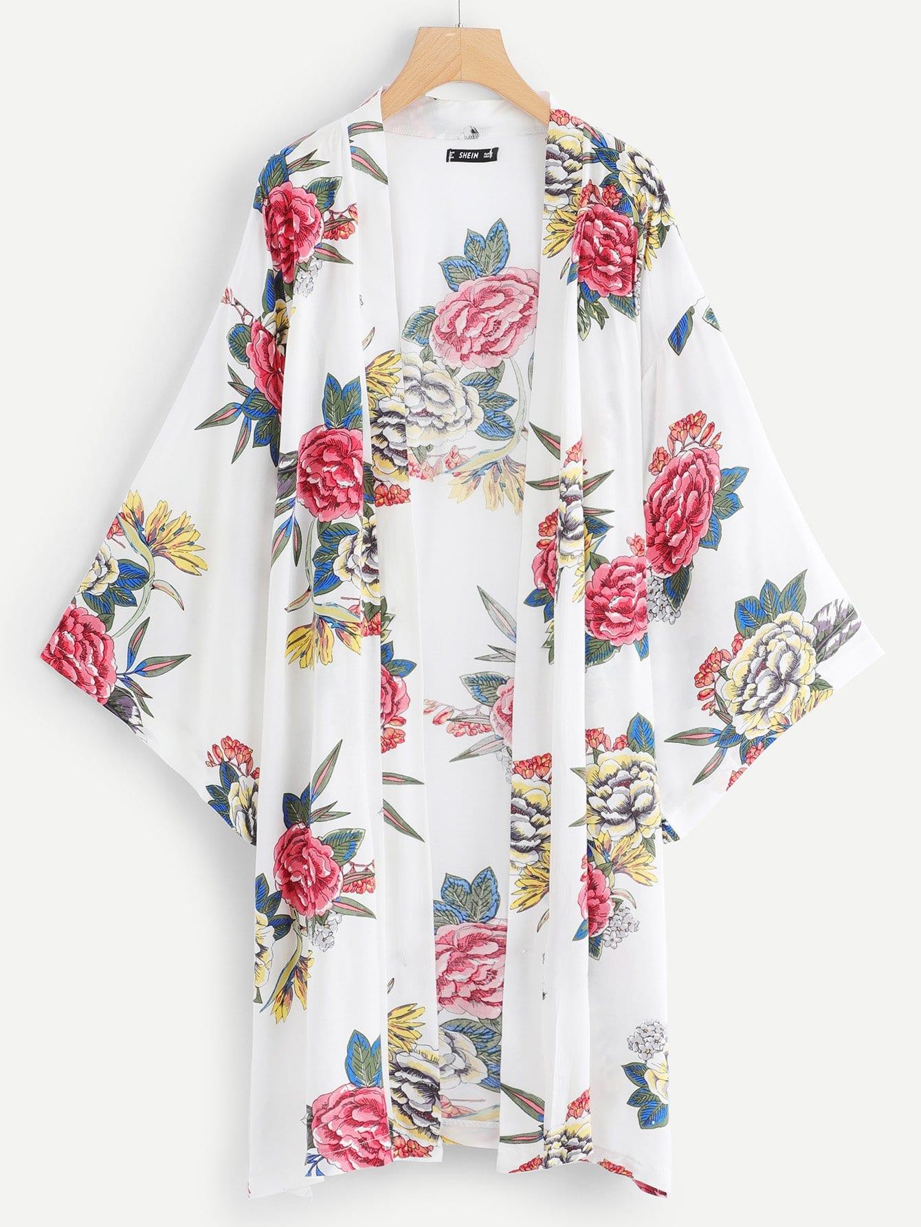 Купить Цветочная печать Открытое переднее кимоно, null, SheIn