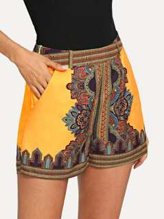 Geo Print Pocket Side Shorts